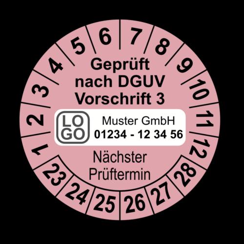 Geprüft nach DGUV Vorschrift 3 Nächster Prüftermin, rosa, mit Wunschtext