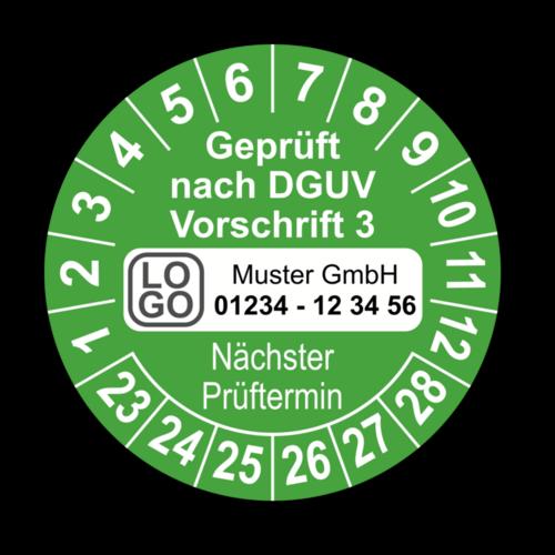 Geprüft nach DGUV Vorschrift 3 Nächster Prüftermin, grün, mit Wunschtext