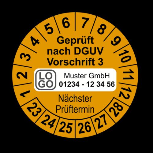 Geprüft nach DGUV Vorschrift 3 Nächster Prüftermin, orange, mit Wunschtext