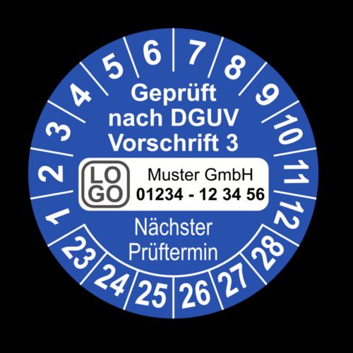 Geprüft nach DGUV Vorschrift 3 Nächster Prüftermin, blau, mit Wunschtext