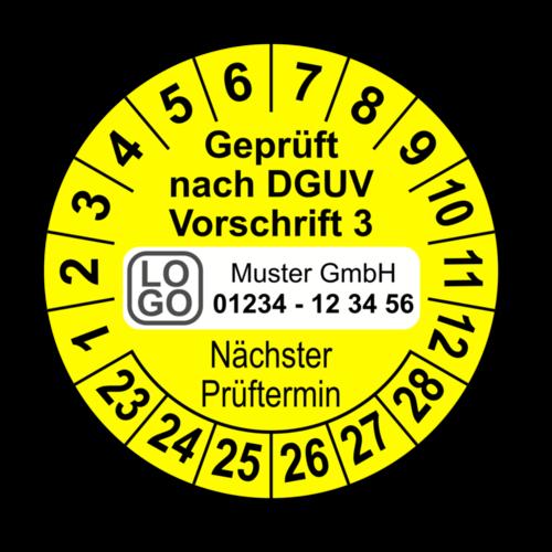 Geprüft nach DGUV Vorschrift 3 Nächster Prüftermin, gelb, mit Wunschtext