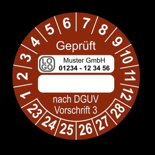 Geprüft … nach DGUV Vorschrift 3, braun (zum Selbstbeschriften), mit Wunschtext