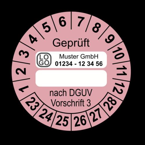 Geprüft … nach DGUV Vorschrift 3, rosa (zum Selbstbeschriften), mit Wunschtext