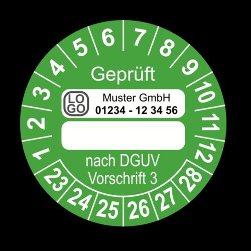 Geprüft … nach DGUV Vorschrift 3, grün (zum Selbstbeschriften), mit Wunschtext