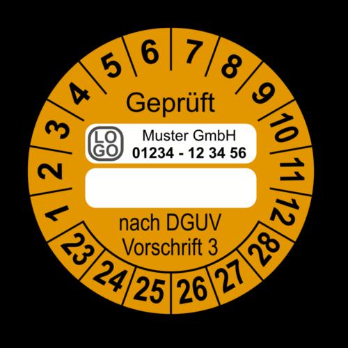 Geprüft … nach DGUV Vorschrift 3, orange (zum Selbstbeschriften), mit Wunschtext