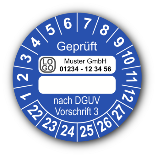 Geprüft … nach DGUV Vorschrift 3, blau (zum Selbstbeschriften), mit Wunschtext