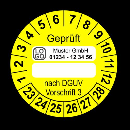 Geprüft … nach DGUV Vorschrift 3, gelb (zum Selbstbeschriften), mit Wunschtext