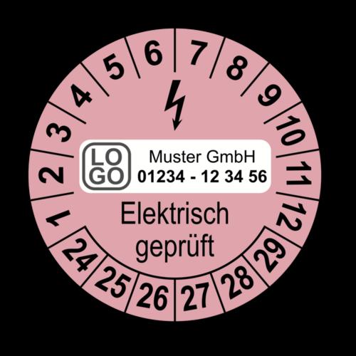 Elektrisch geprüft, rosa, mit Wunschtext