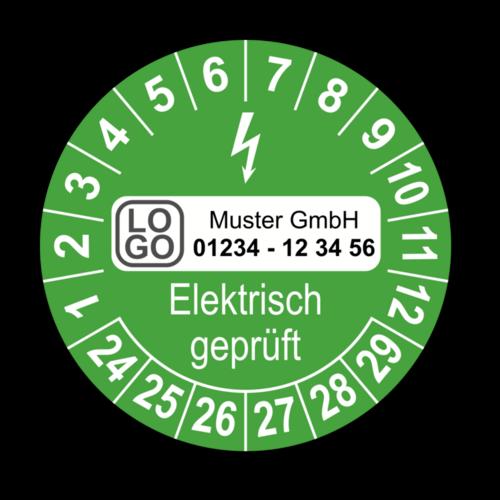 Elektrisch geprüft, grün, mit Wunschtext