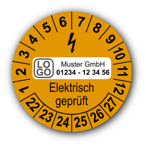 Elektrisch geprüft, orange, mit Wunschtext