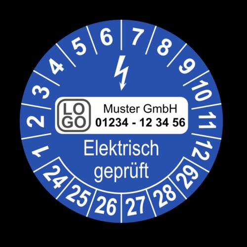 Elektrisch geprüft, blau, mit Wunschtext