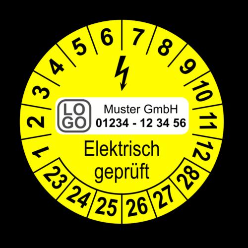 Elektrisch geprüft, gelb, mit Wunschtext