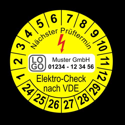Nächster Prüftermin Elektro-Check nach VDE, gelb, mit Wunschtext