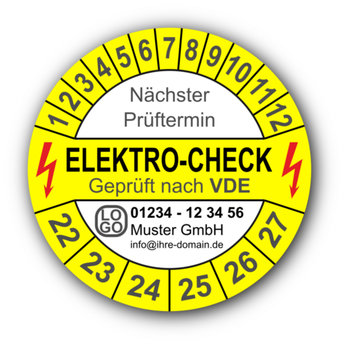 Elektro-Check Nächster Prüftermin Geprüft nach VDE, gelb/weiß, mit Wunschtext