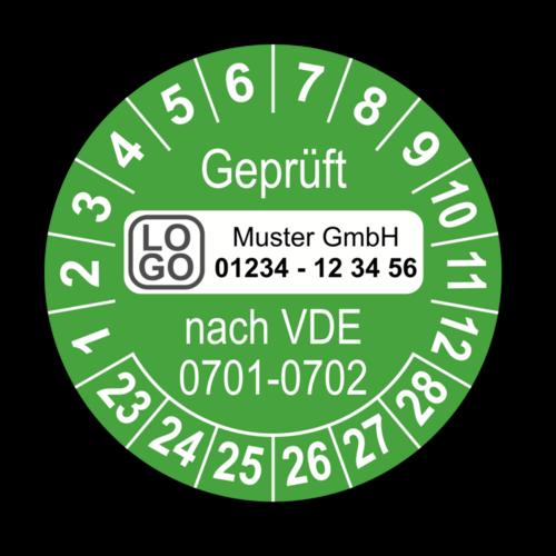 Geprüft nach VDE 0701-0702, grün, mit Wunschtext