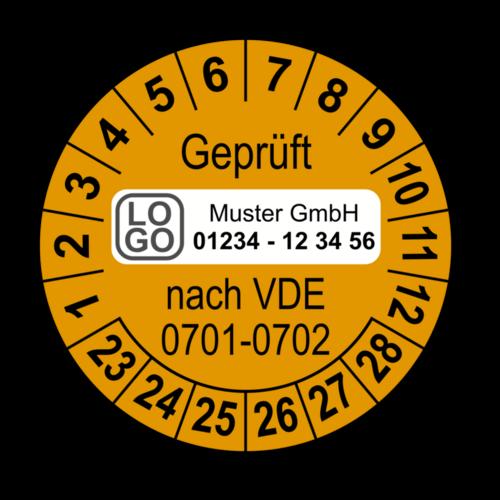 Geprüft nach VDE 0701-0702, orange, mit Wunschtext