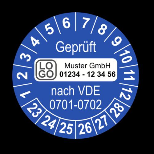 Geprüft nach VDE 0701-0702, blau, mit Wunschtext