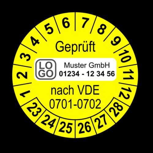 Geprüft nach VDE 0701-0702, gelb, mit Wunschtext