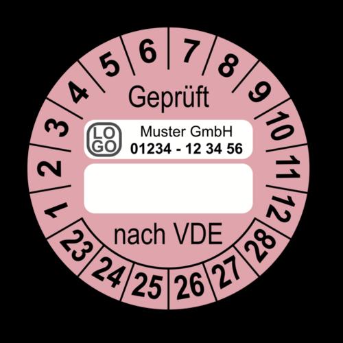 Geprüft nach VDE…, rosa (zum Selbstbeschriften), mit Wunschtext