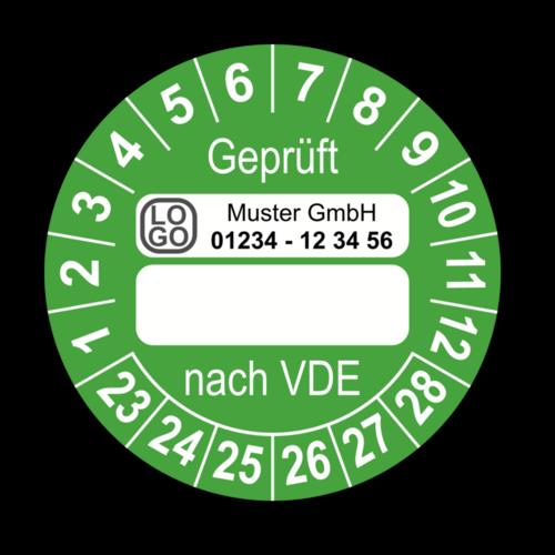 Geprüft nach VDE…, grün (zum Selbstbeschriften), mit Wunschtext