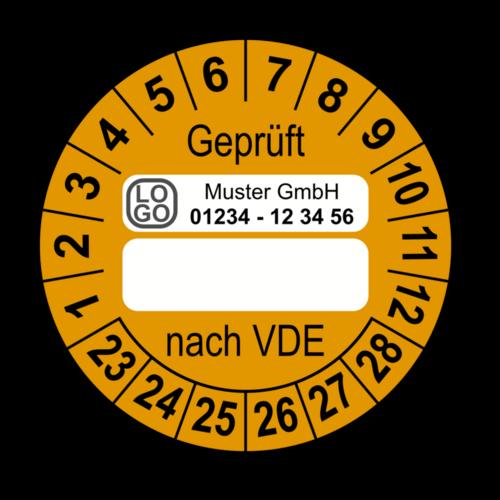 Geprüft nach VDE…, orange (zum Selbstbeschriften), mit Wunschtext
