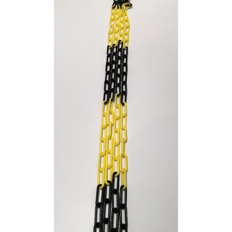 Absperrkette aus Kunststoff, 6 mm, gelb-schwarz
