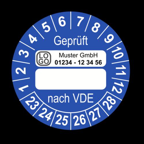 Geprüft nach VDE…, blau (zum Selbstbeschriften), mit Wunschtext