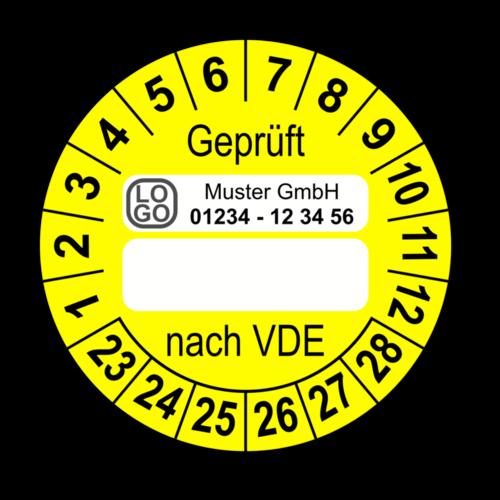 Geprüft nach VDE…, gelb (zum Selbstbeschriften), mit Wunschtext