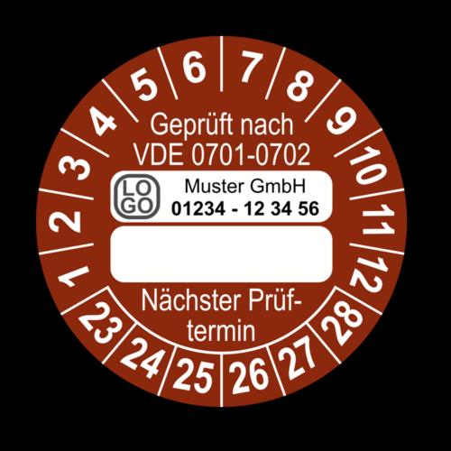 Geprüft nach VDE 0701-0702 … Nächster Prüftermin, braun (zum Selbstbeschriften), mit Wunschtext