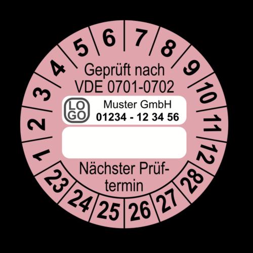 Geprüft nach VDE 0701-0702 … Nächster Prüftermin, rosa (zum Selbstbeschriften), mit Wunschtext