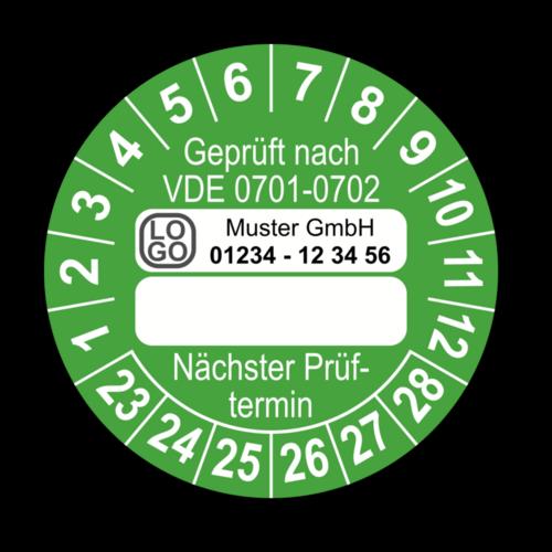 Geprüft nach VDE 0701-0702 … Nächster Prüftermin, grün (zum Selbstbeschriften), mit Wunschtext
