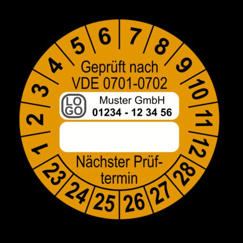 Geprüft nach VDE 0701-0702 … Nächster Prüftermin, orange (zum Selbstbeschriften), mit Wunschtext
