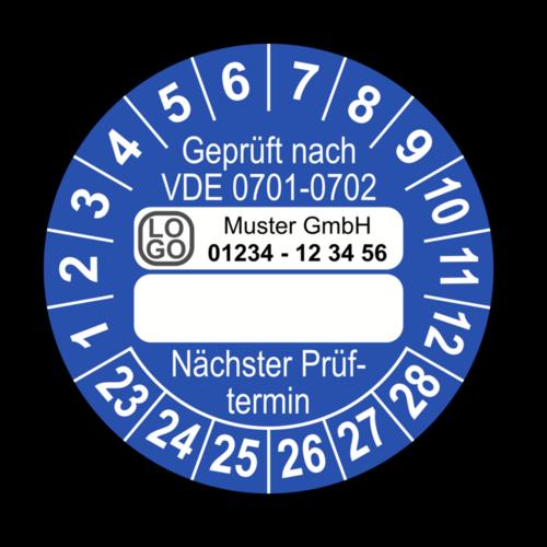 Geprüft nach VDE 0701-0702 … Nächster Prüftermin, blau (zum Selbstbeschriften), mit Wunschtext