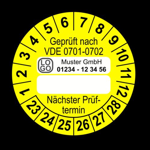 Geprüft nach VDE 0701-0702 … Nächster Prüftermin, gelb (zum Selbstbeschriften), mit Wunschtext
