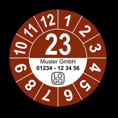 Jahresprüfplakette mit zweistelliger Jahreszahl, 2018, mit Wunschtext