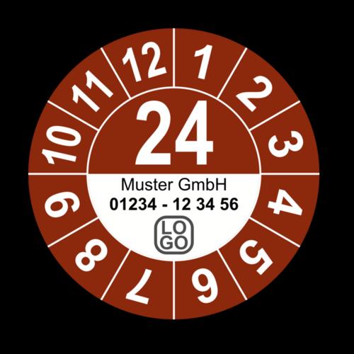 Jahresprüfplakette mit zweistelliger Jahreszahl, 2021, mit Wunschtext