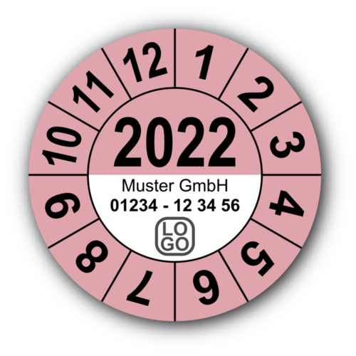 Jahresprüfplakette mit vierstelliger Jahreszahl, 2018, mit Wunschtext