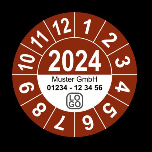 Jahresprüfplakette mit vierstelliger Jahreszahl, 2021, mit Wunschtext