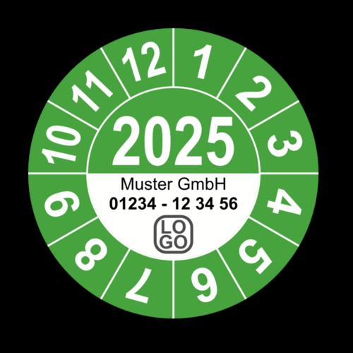 Jahresprüfplakette mit vierstelliger Jahreszahl, 2020, mit Wunschtext