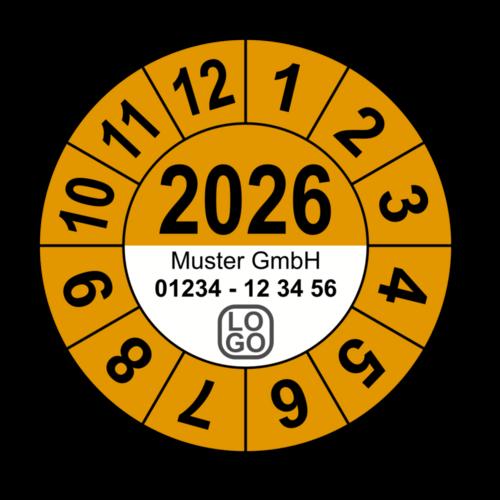Jahresprüfplakette mit vierstelliger Jahreszahl, 2023, mit Wunschtext