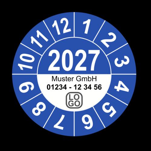 Jahresprüfplakette mit vierstelliger Jahreszahl, 2024, mit Wunschtext