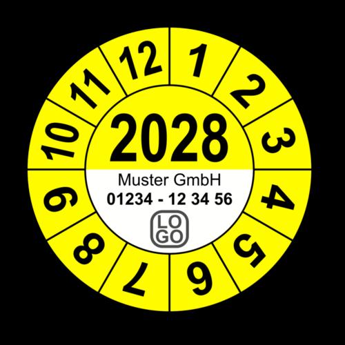 Jahresprüfplakette mit vierstelliger Jahreszahl, 2025, mit Wunschtext