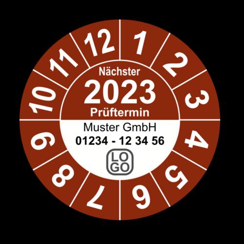 """Jahresprüfplakette """"Nächster Prüftermin"""", 2020, mit Wunschtext"""