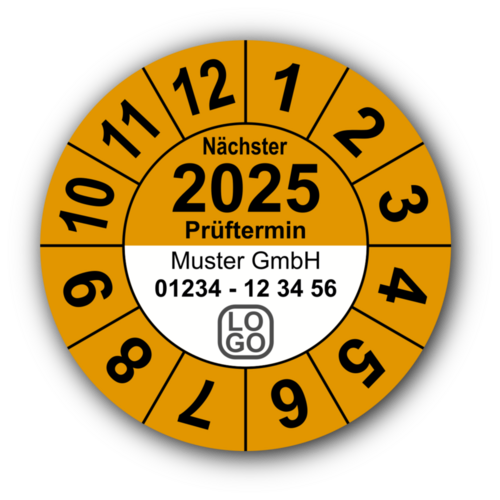 """Jahresprüfplakette """"Nächster Prüftermin"""", 2023, mit Wunschtext"""