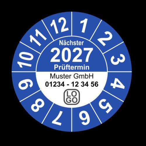 """Jahresprüfplakette """"Nächster Prüftermin"""", 2024, mit Wunschtext"""