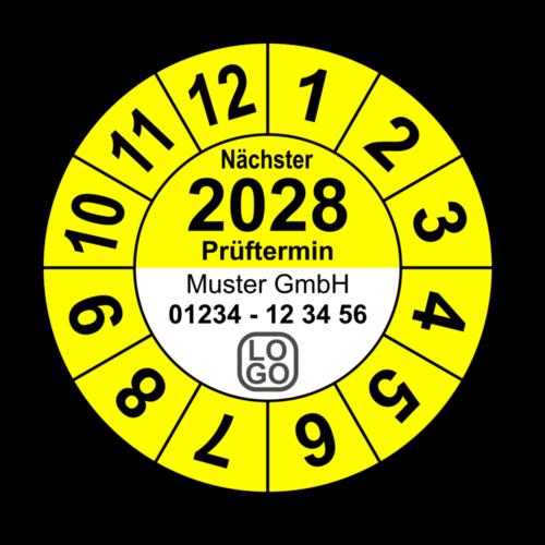 """Jahresprüfplakette """"Nächster Prüftermin"""", 2025, mit Wunschtext"""