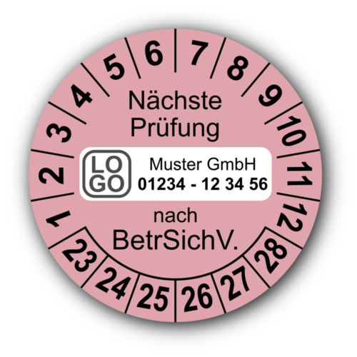 Nächste Prüfung nach BetrSichV., rosa, mit Wunschtext