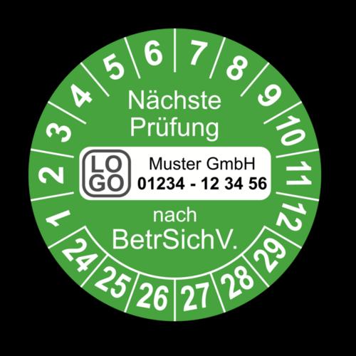 Nächste Prüfung nach BetrSichV., grün, mit Wunschtext