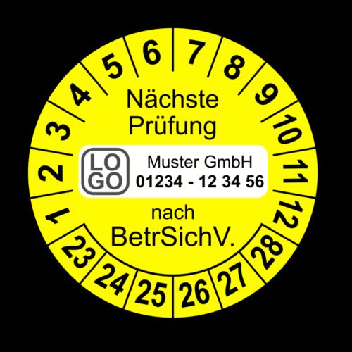 Nächste Prüfung nach BetrSichV., gelb, mit Wunschtext