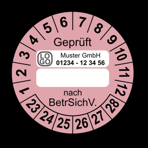 Geprüft … nach BetrSichV., rosa (zum Selbstbeschriften), mit Wunschtext